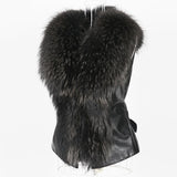Super Chic PU Leather Faux Fur Women Winter Vest Plus Size