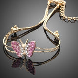 Stellux Austrian Crystal Butterfly Charm Bracelet 18KL Gold Plated