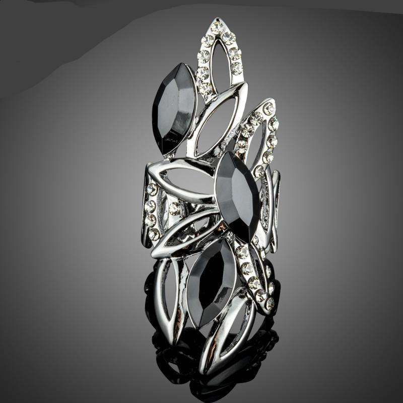 Beautiful New Ring Design with Marquise Black Stellux Austrian Crystals