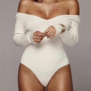 Off Shoulder Ribbed Knitted Sexy Cotton Bodysuit