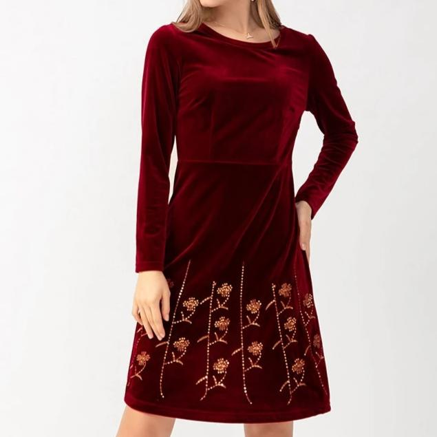 New Velvet Velour Sequined  Nataly Dress - Plus Size