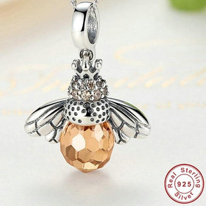 925 Sterling Silver Lovely Bee Pendant Necklace