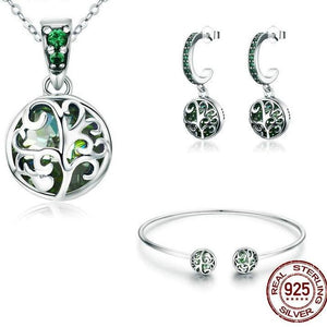 Tree Of Life Green Crystal 925 Sterling Silver Set