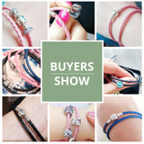 Genuine Long Double Braided Leather Bracelet with 925 Sterling Silver Snake