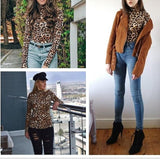 Chic High Neck Long Sleeve Leopard Top