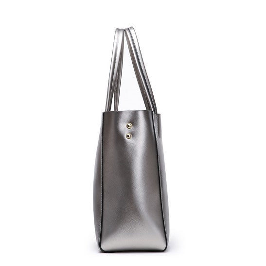 Casual Real Cowhide Leather Big Tote Bag In Metal Colors