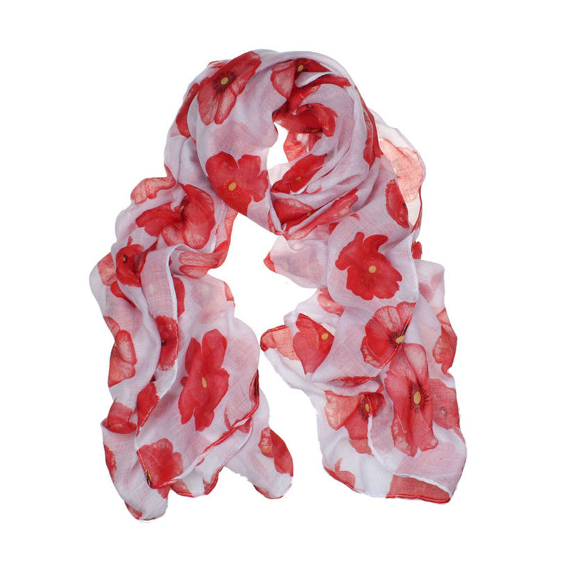 Fashion Red Poppy Scarf Print Long Scarf