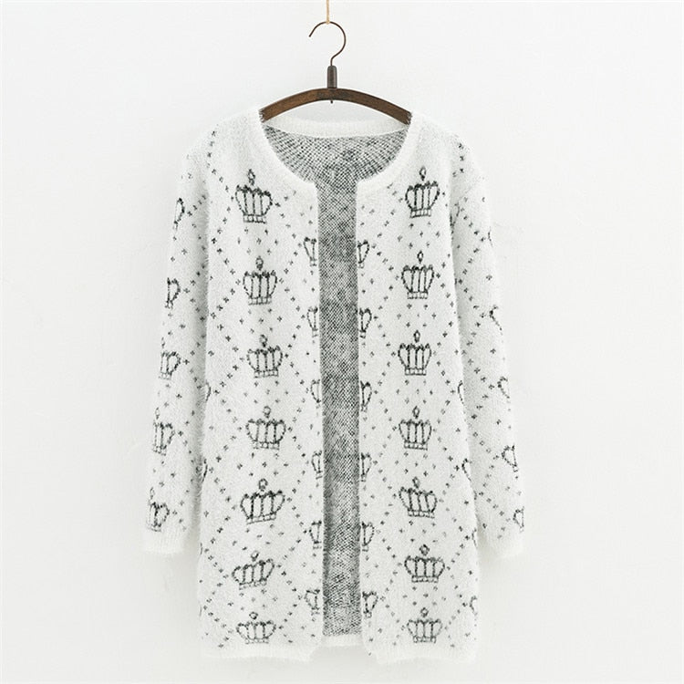 Sweater Cardigan  Snowflake pattern Long Round Collar
