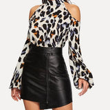Elegant Cold Shoulder Leopard Print Blouse  -  Plus Size