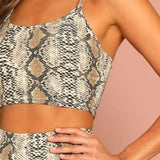 Summer Snake Skin Print Crop Tank Top and Short Leggings Set