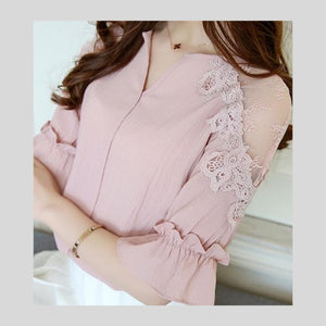 Chiffon Women Shirt Fashion Short Sleeve V-Neck Lace Blouse