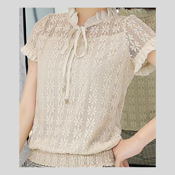 Sexy Hollow Lace Women's Blouse
