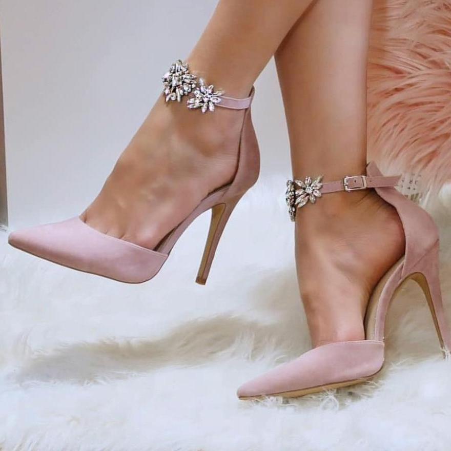 Elegant Rhinestone Silk High Heels Silk Pointed Toe Pumps Crystal
