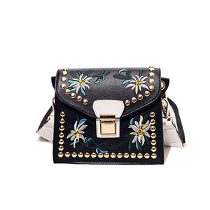 Embroidery Leather Messenger Crossbody Handbag