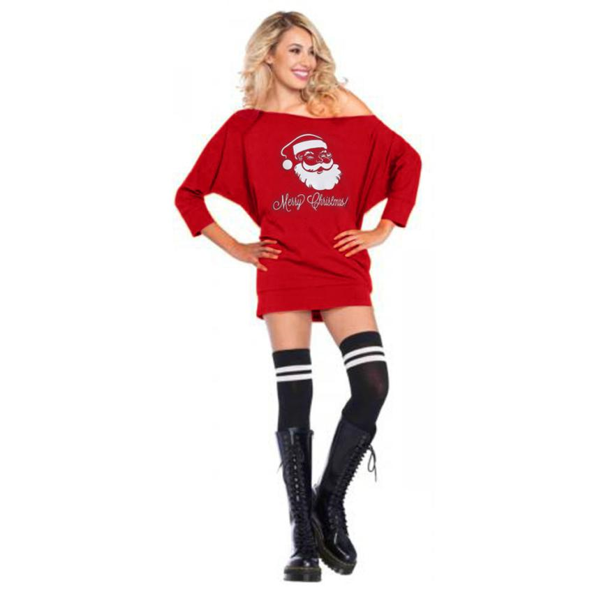 Causal Cold Shoulder Santa Claus Christmas Mini Dress