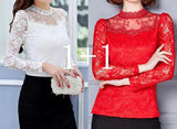 Fashion Sexy Slim Lace Long Sleeve Cristy Blouse - Plus Size