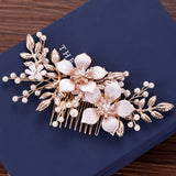 Elegant Bride Floral And Pearl Brigitte Hair Comb