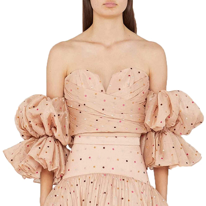 Sexy Polka Dot Off Shoulder Coat Strapless Puff Sleeve  Top