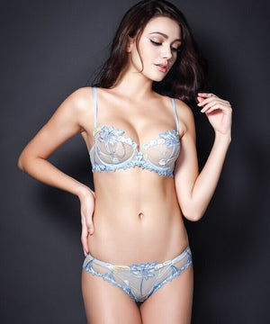 Lovely Lace Embroidery Thin Bra Suit