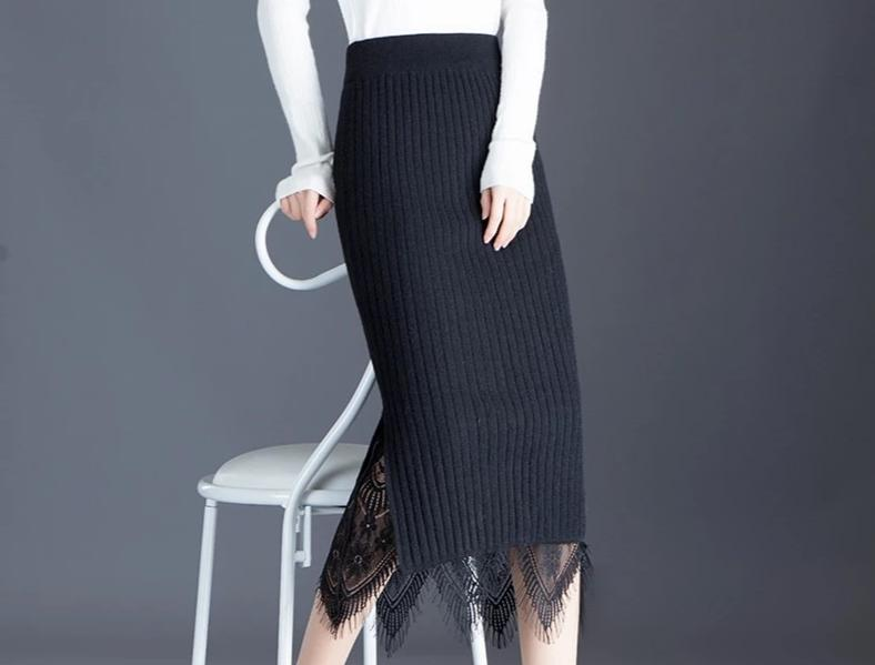 Midi Stripe Lace Pencil Sweater Camille Skirt - Reversible