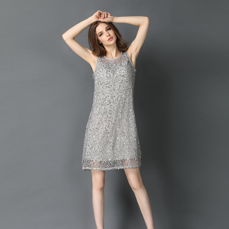 plus size stretchable sequin sleeveless dress