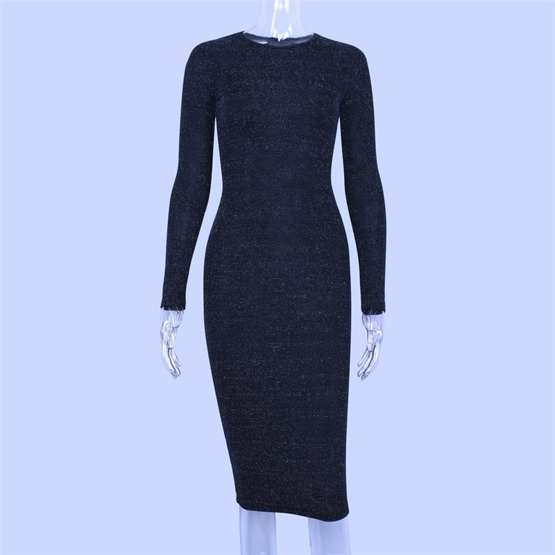 Long Sleeve High Waist Reflective Sexy Slim Dress Knee Length
