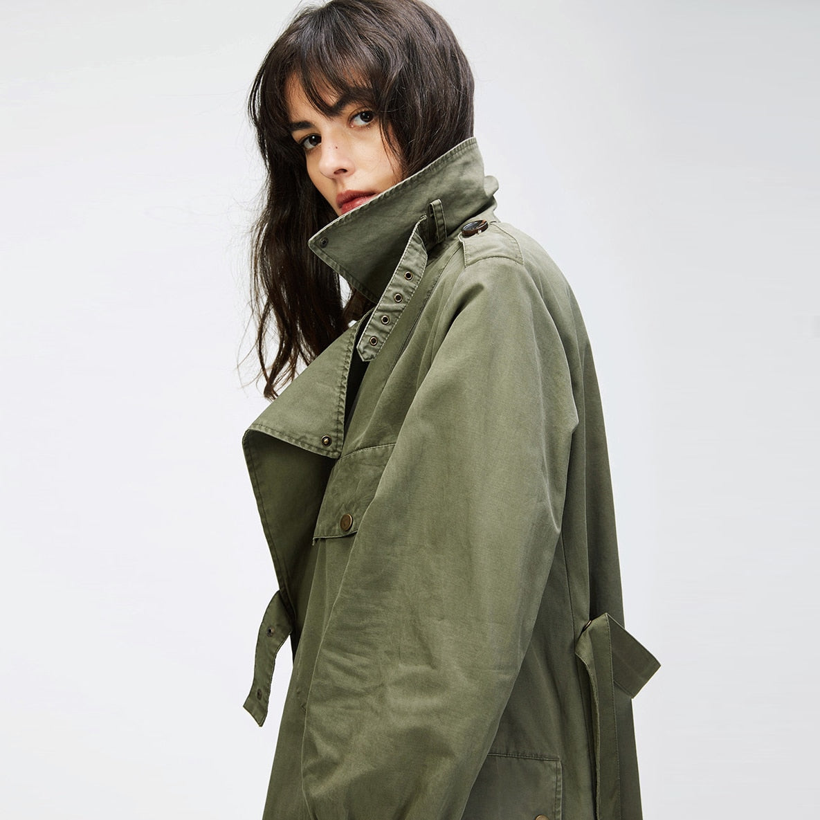 Fashion Women Casual Military Trench Coat
