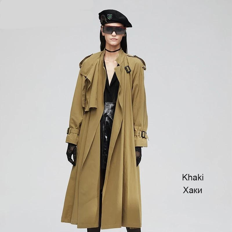 New casual Long Cotton Washed Outwear Loose Trench Coat