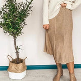 Knitted Pleated Elastic High Waist Long Skirt