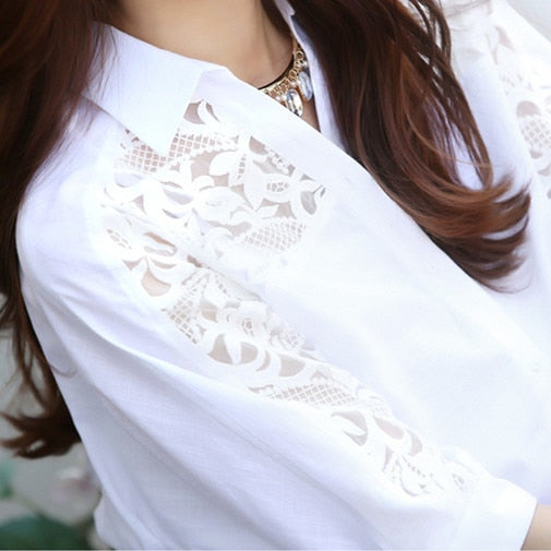 Fashion White Blouse  Batwing Sleeves Large Size 3 XL