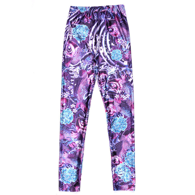 Fashion Enchanting Purple Roses Leggings - PLUS SIZE