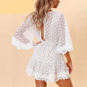White Lace Dot Mini Dress V Neck