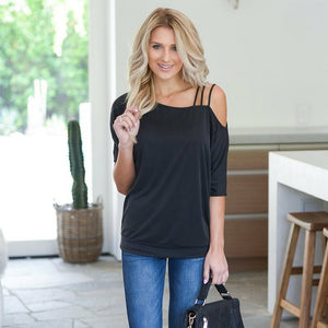 50% OFF Sexy One Shoulder Top Short Sleeve - Plus Size