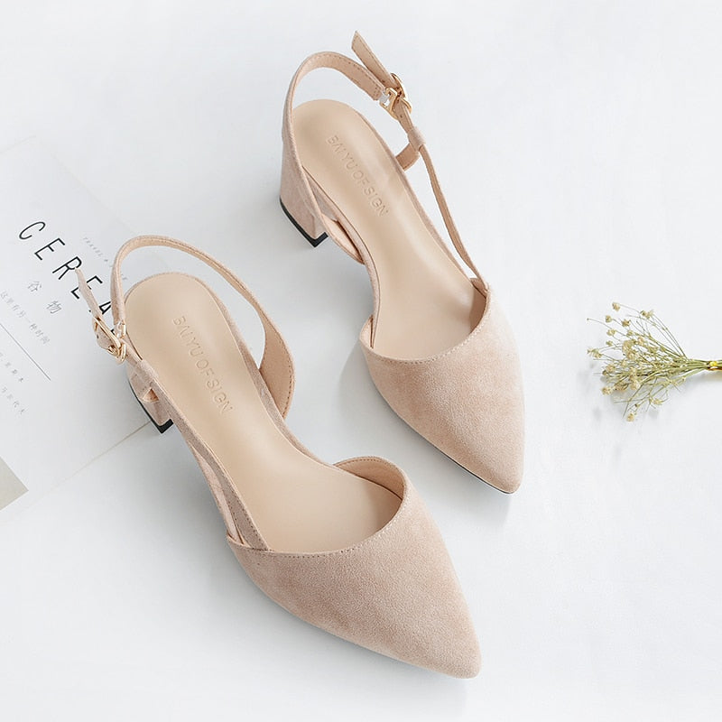 Spring High Heels Flock Straps Slingback Square Shoes