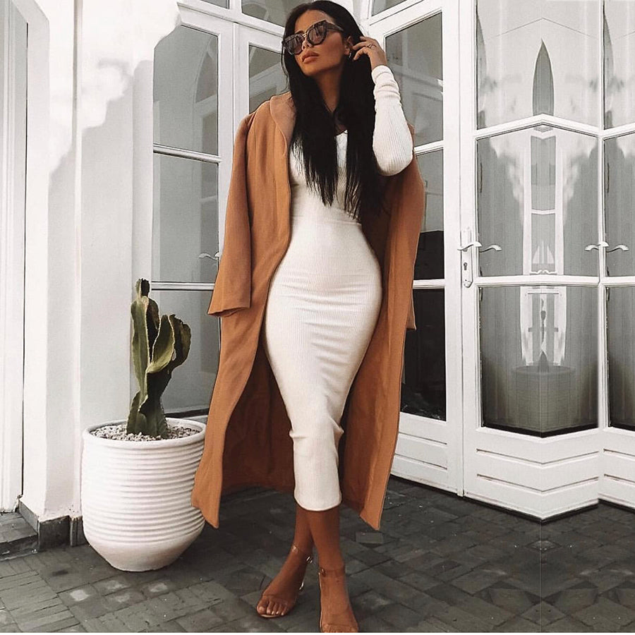 Ribbed Winter White  Body-con Dress