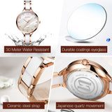 Luxury Rose Gold Elegant Waterproof Ceramic Watch