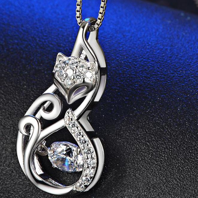 925 Silver Cute Fox Pedant Necklace