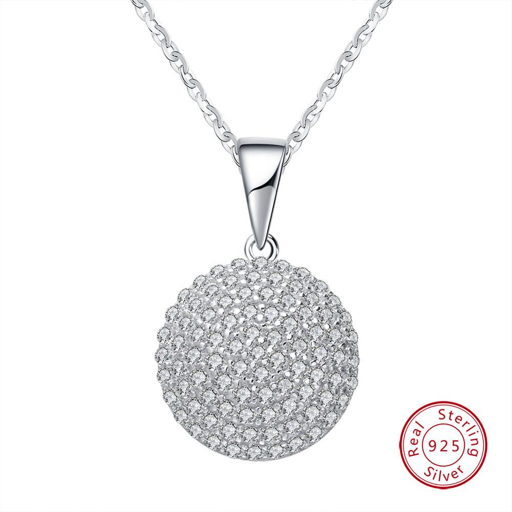 Genuine 925 Sterling Silver  Round Pendant AAA CZ Necklace With 45CM Chain