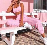 Women Pink Sport Jogging Design Top & Elastic Waist Cargo Pant Set