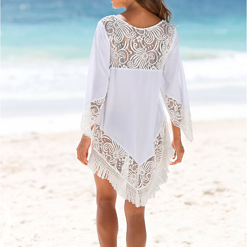 Asymetrical 0 Neck Lace Patchwork Mini Tunic For Beach Dress Plus Size