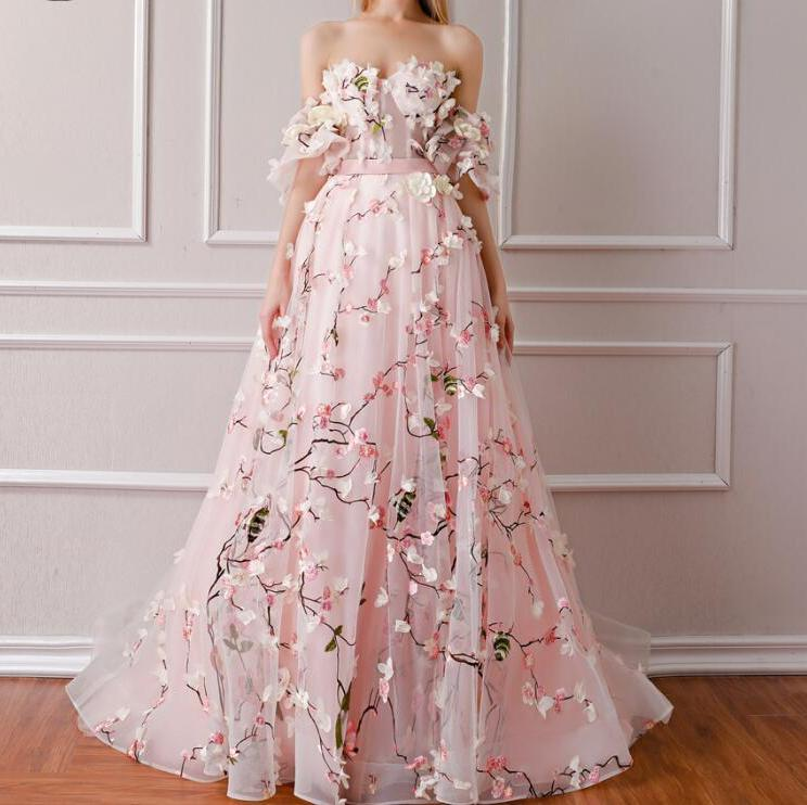 3D Floral Flower Formal Evening Prom Dress