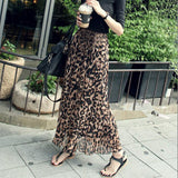 Long Leopard Chiffon pleated Debbie Skirt - Elastic Waist