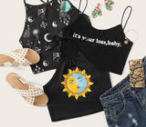 Letter Print Crop Cami Top