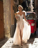 Elegant Gown Ivory Sexy V-neck Lace Appliques Backless High Split Dress
