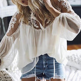 Sexy Lace Casual Long Sleeve Chiffon Blouse
