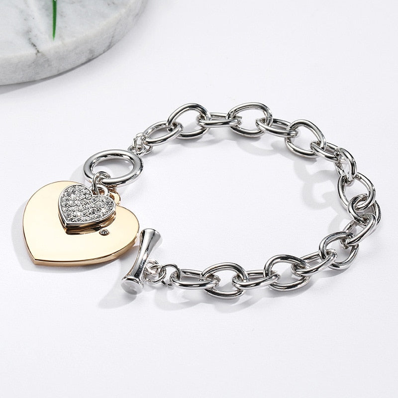 50% OFF Two Love Heart Charm Bracelet - Anti-Allergy
