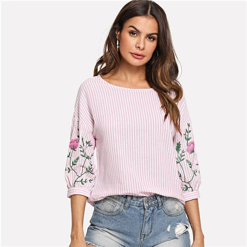Fashionable Flower Print Lantern Sleeve Pink Blouse