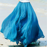 High Waist Long Mesh Chiffon Skirt