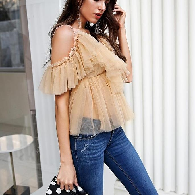 Sexy Nude Tulle Blouse