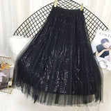 Chic Sequined Pleated A Line Midi Fiona Skirt